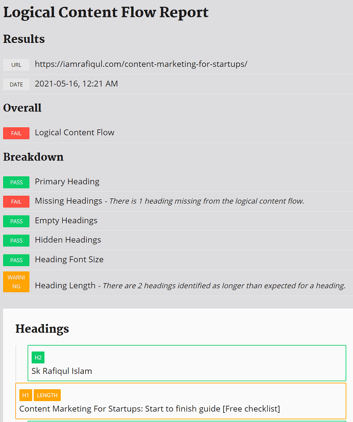 check content flow report