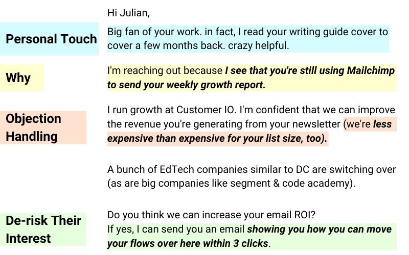 elements of a great cold email